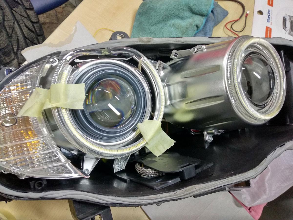 Замена биксеноновых линз на BMW X5 E70