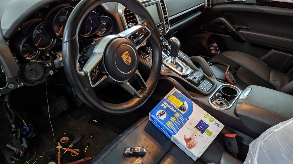 Установка автосигнализации на Porsche Cayenne
